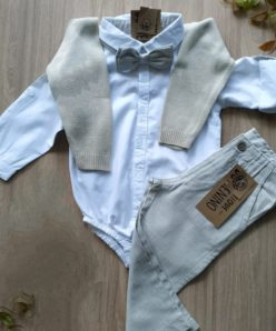 conjunto batizado body calca gravata pulover
