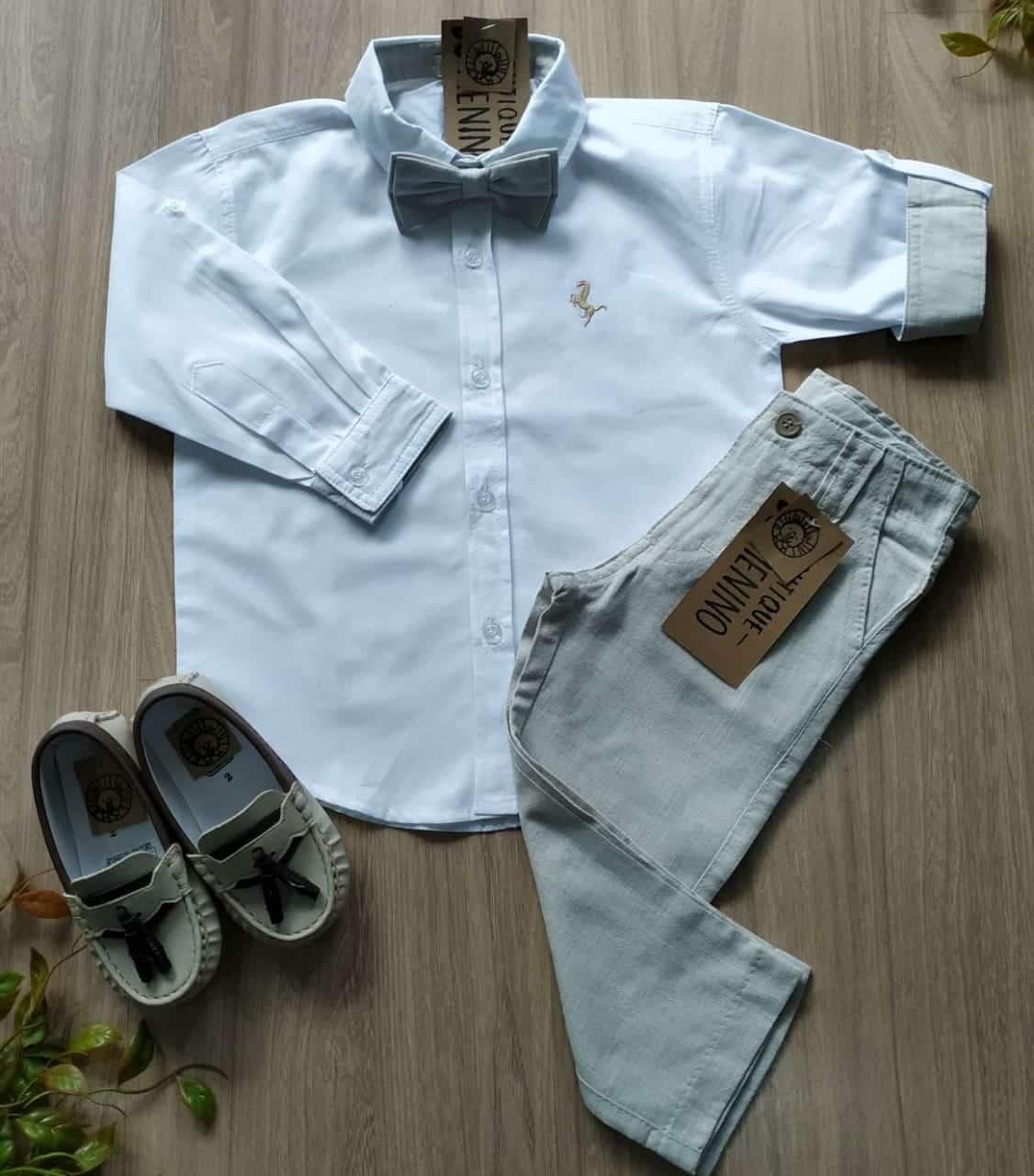 conjunto batizado camisa calça gravata e sapato mocassim 5