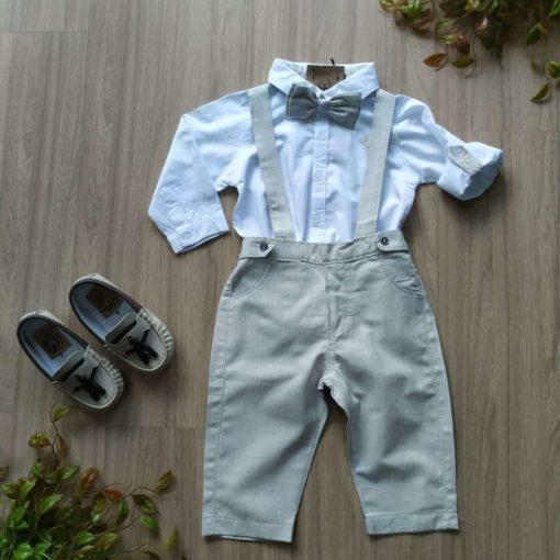 kit batizado camisa jardineira gravata sapato