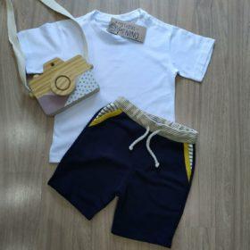 Conjunto Infantil bermuda azul camiseta branca