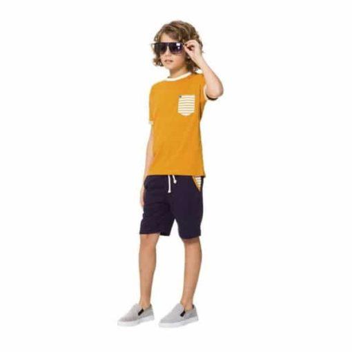 conjunto infantil bermuda camisa bolso