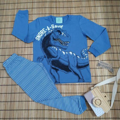 Pijama Masculino manga longa estampado Dinossauro Infantil Azul - Kiko e Kika