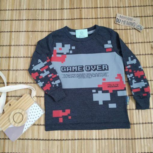 Camiseta infantil masculina manga longa estampada Game Over Preta- NELLONDA
