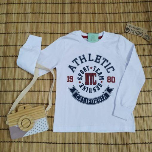 Camiseta infantil masculina manga longa estampada ATHLETIC Branca - HRRADINHOS