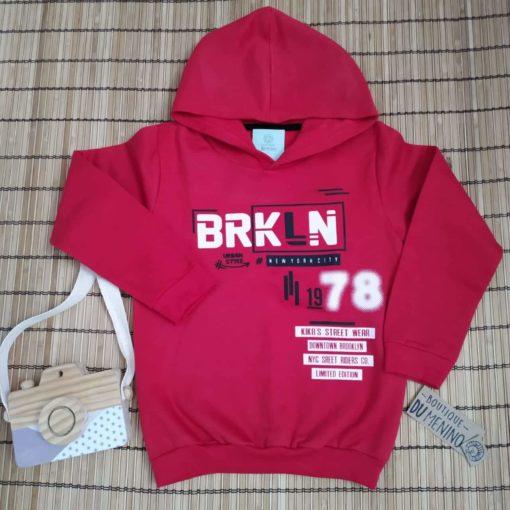 Blusa infantil masculina de Moletom BRKL fechada com Capuz Vermelho Kiko e Kika