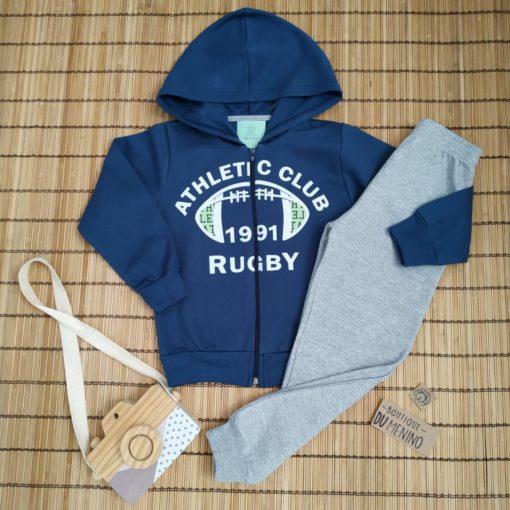 Conjunto Infantil Moletom Masculino ATHLETIC com capuz e ziper Azul Marinho- DUZIZO