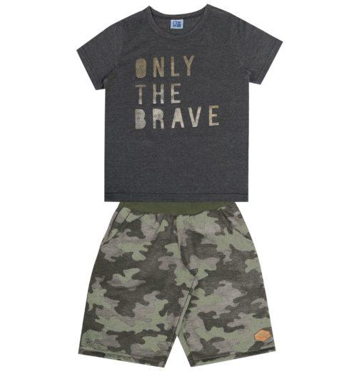 Conjunto Infantil Masculino camiseta em meia malha penteada com estampa Only The Brave e bermuda em moletinho sublimado sem felpa