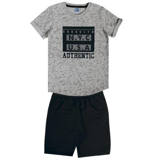 Conjunto de Camiseta em meia malha penteada com estampa relevo e bermuda em moletom soft sem felpa Mescla