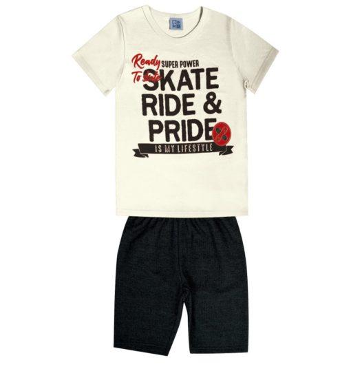 Conjunto Infantil masculino camiseta em meia malha penteda com estampa e bermuda em moletom soft sem felpa Natural