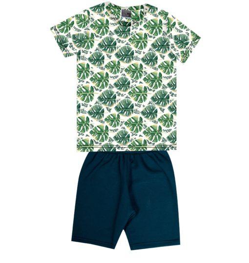 Conjunto infantil camiseta em meia malha com estampa Digital Plantas e bermuda em moletom soft sem felpa Natural Marinho