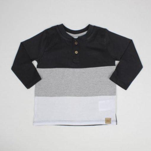 Camiseta Infantil masculina Manga Longa Tricolor com botões Preto- By Gus