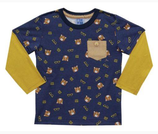 Camiseta Infantil masculina Manga Longa Meia Malha Estampada Ursinhos com Bolso e Sobreposição nas Mangas Azul
