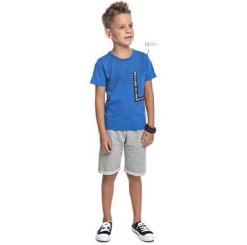 Conjunto de camiseta em meia malha penteada com bolso personalizado e bermuda em moletom soft sem felpa Azul