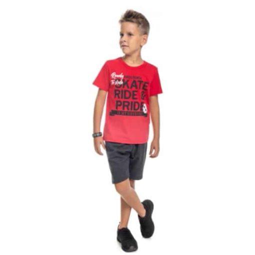 Conjunto Infantil masculino camiseta em meia malha penteda com estampa e bermuda em moletom soft sem felpa Vermelho