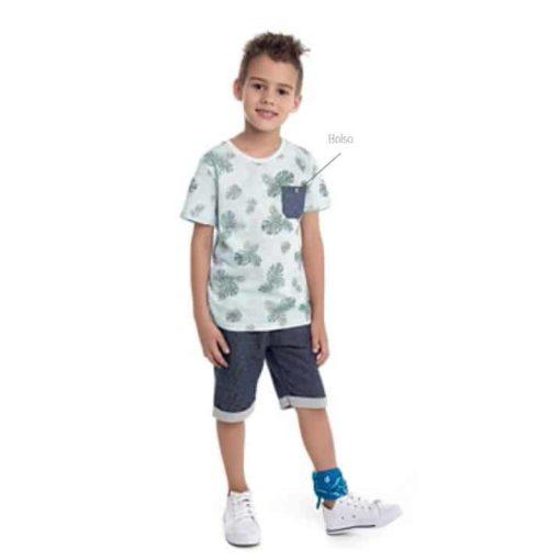 Conjunto infanitl camiseta em meia malha penteada rotativa com bolso e bermuda em moletom jeans sem felpa