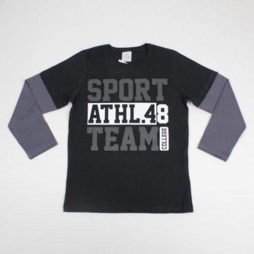 Camiseta Infantil masculina Manga Longa Sobreposta Estampada Athl.48 Preto- Lecimar