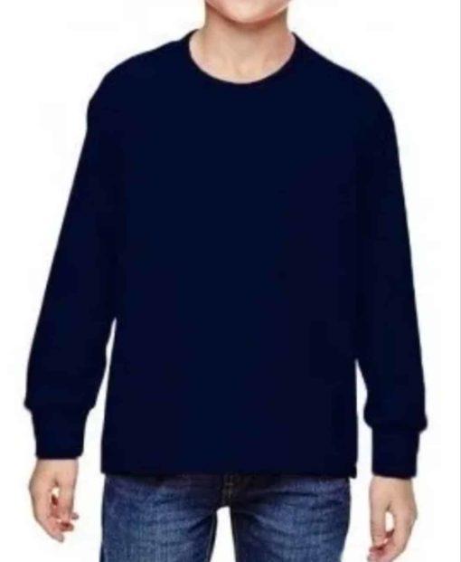 Camiseta Infantil masculina Manga Longa Meia Malha com punho Azul Marinho