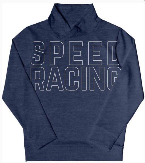 Blusão Infantil Moletom Peluciado Estampado Speed Racing e Gola Alta - Azul