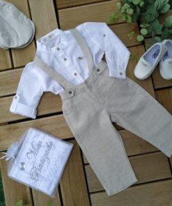 Conjunto Batizado Casamento Verão infantil menino com Bata Gole Padre e Jardineira Linho bege – Lazy