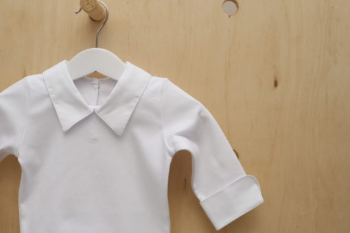 Body branco menino infantil bebe Suedine Pima masculino manga longa Gola Ponta Branco Liso