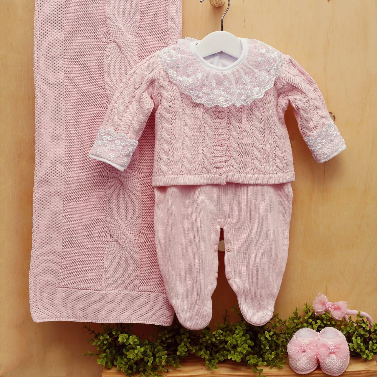 Saida de maternidade  com Body bebê menina tricot Trança Rosa 4 peças luxo