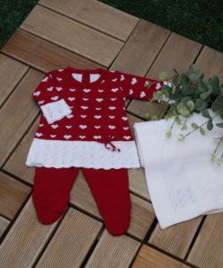 Saida maternidade bebê menina tricô Vestido LOVE 3 peças luxo Vermelho Bordo com branco