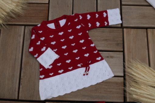 Saida maternidade com Body bebê menina tricô Vestido LOVE 3 peças luxo Vermelho Bordo e branco