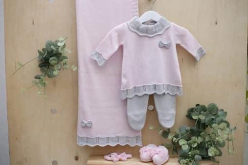 Saida maternidade com Body bebê menina tricot Vestido Gola Rendada peças luxo Rosa com Cinza