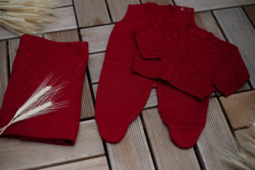 Saida maternidade luxo Tricot com Body bebê menino Tijolinho tricô Bordo 4 peças