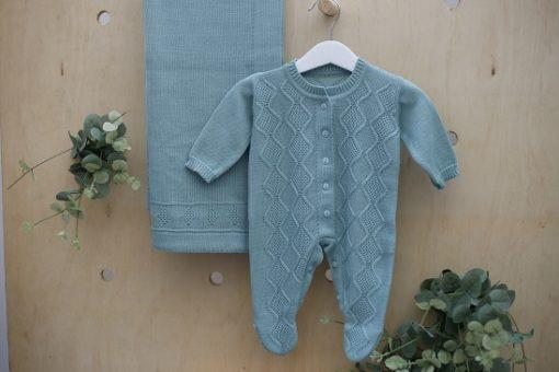 Saida maternidade Tricot bebê menino Moscou Verde 2 peças luxo