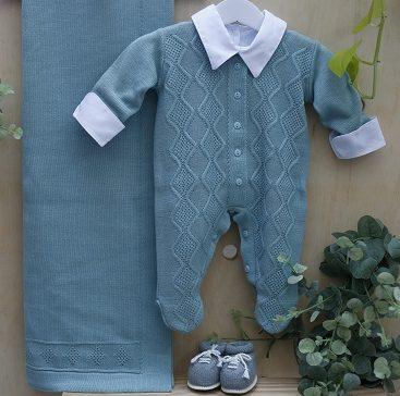 Saida maternidade Tricot Com Body bebê menino Moscou Verde 3 peças luxo