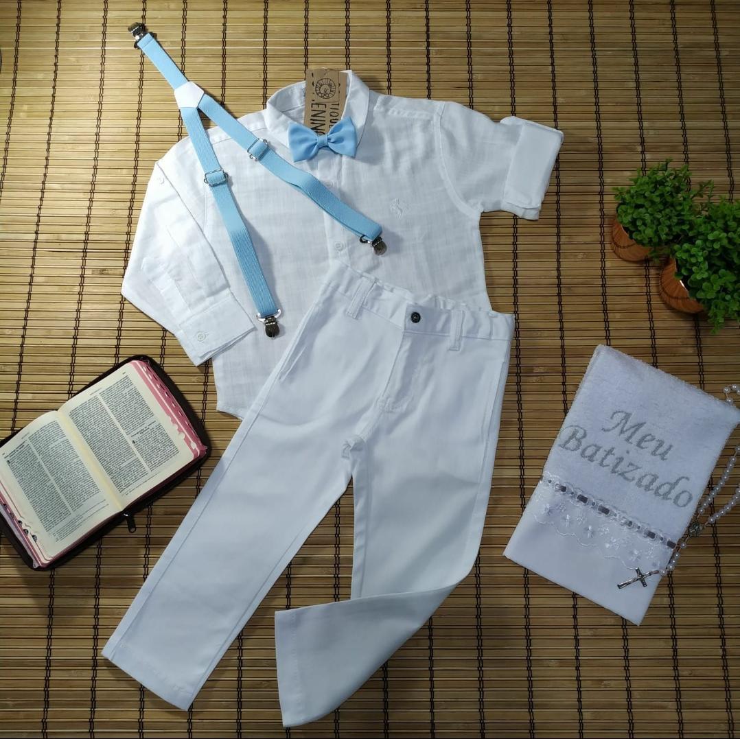 Conjunto Batizado Premium infantil menino Calça Camisa Suspensório Gravata Azul Bebe – Lazy