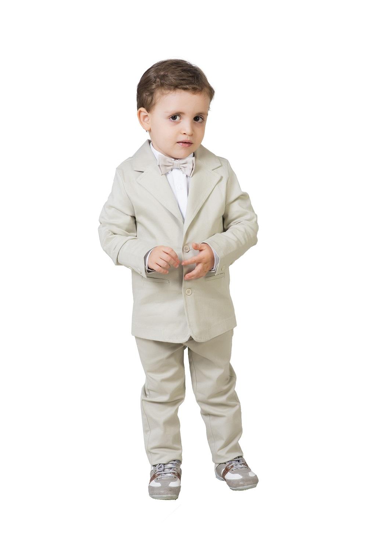 Conjunto batizado infantil luxo Calça Linho Camisa Tricoline manga longa Blazer Bege