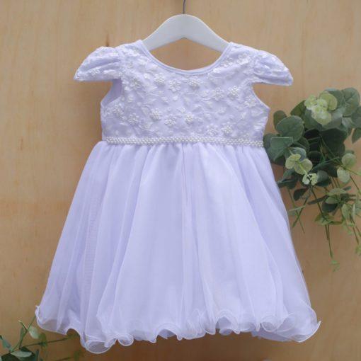 Vestido infantil batizado Liza renda perolas e bordado menina branco