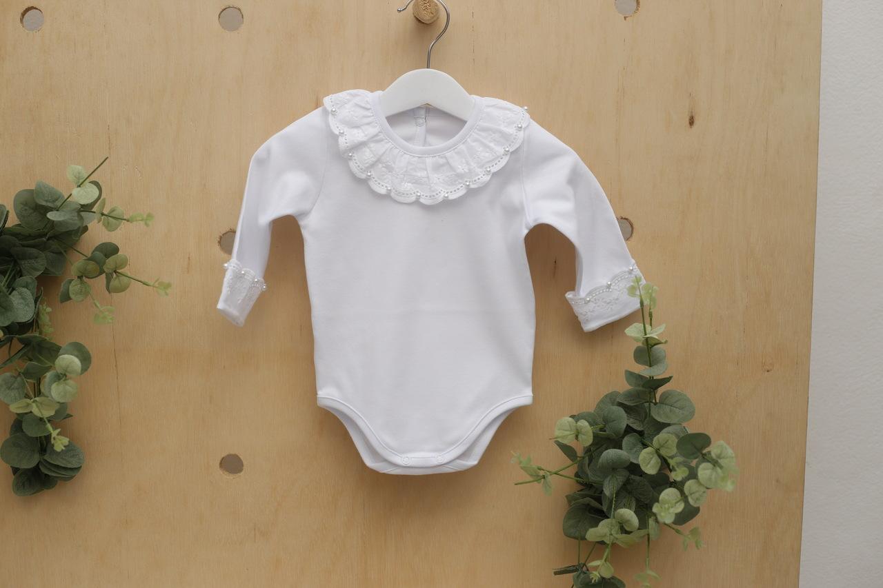 Body branco menina infantil bebe manga longa com gola Gripir