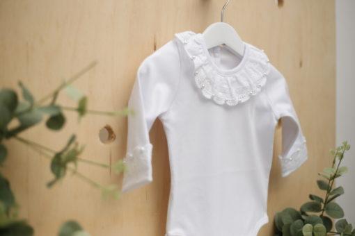 Body branco menina infantil bebe manga longa com gola Lesy com Pérolas