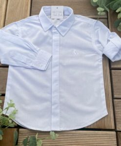 Body Camisa Tricoline Branco Infantil Masculino Bebê Manga Longa Luxo