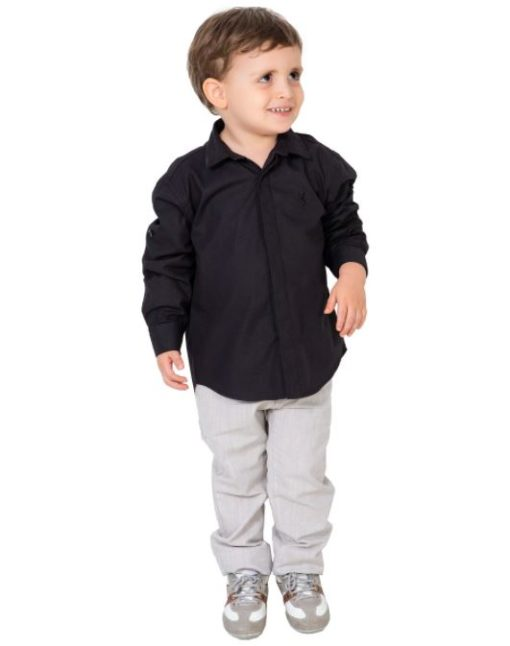 Camisa Tricoline Preta manga longa Infantil menino - Lazy