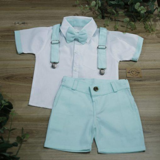 Conjunto Batizado Pajem Casamento Camisa Tricoline Bermuda verde água e suspensório e gravata