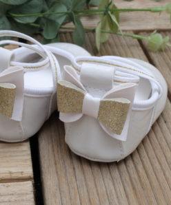 Sapato Infantil Ana feminino Branco Laço Dourado Batizado menina