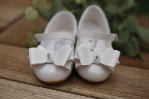 Sapato Infantil Laura feminino Branco Laço Batizado menina
