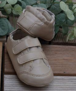 Sapato Infantil masculino om Velcro infantil Menino Bege Batizado