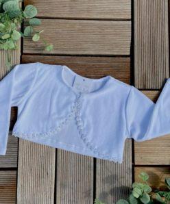 Bolero Infantil Batizado Bebê Menina Acabamento Pérolas