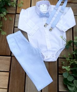 Conjunto Batizado Infantil Menino Calça Camisa Colete e Gravata Azul-bebê Premium