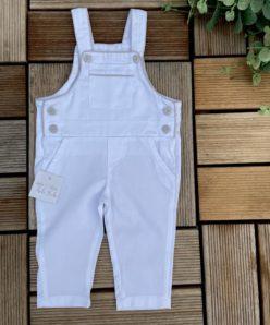 Jardineira Infantil Menino Branco Areia Macacão Luxo