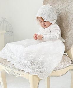 Mandrião Manga Longa Vestido Infantil Bebê Batizado Renda Branco +Touca Luxo