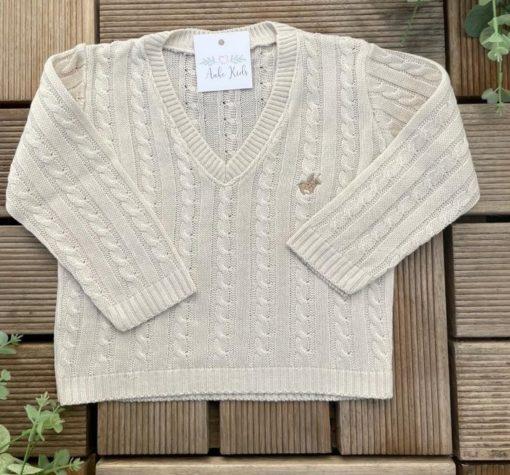 Pulôver Branco Suéter Tricot infantil menino luxo