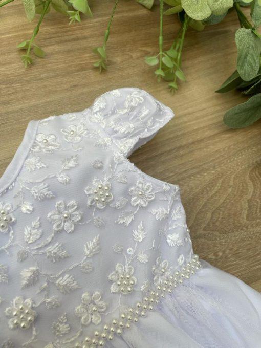 Vestido Infantil Mirela Branco com Renda Florida Fita de Cetim
