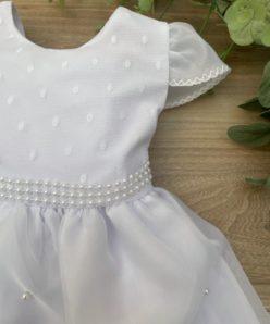 Vestido Infantil Palôma Branco com Voal Bordado