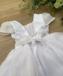 Vestido Infantil Palôma Branco com Voal Bordado e Manga de Voal